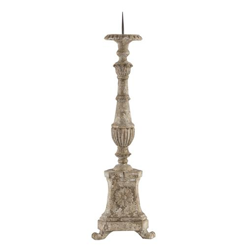 Stella French Manor Antique White Distressed Candleholder | Kathy Kuo Home