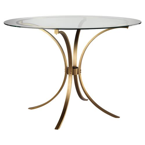 Karter Modern Classic Round Clear Glass Gold Metal Dining Table 41 D 50 D Kathy Kuo Home
