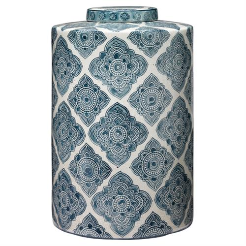 Lia Coastal Beach Blue White Ceramic Decorative Jar | Kathy Kuo Home