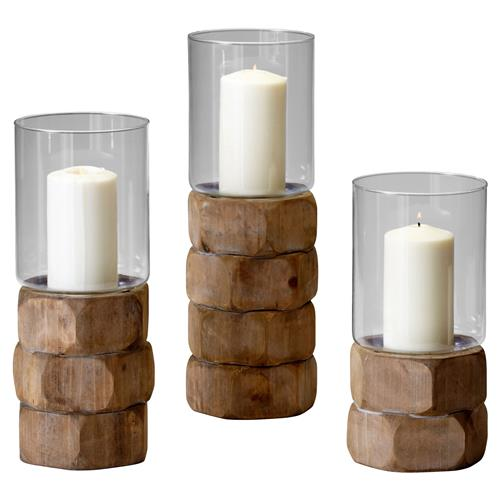 Tompkins Rustic Lodge Natural Wood Glass Candleholder - Small | Kathy Kuo Home