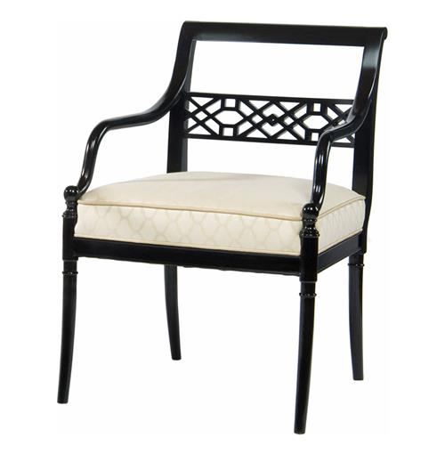 Hollywood Regency Black Onyx Fretwork Occasional Arm Chair | Kathy Kuo Home