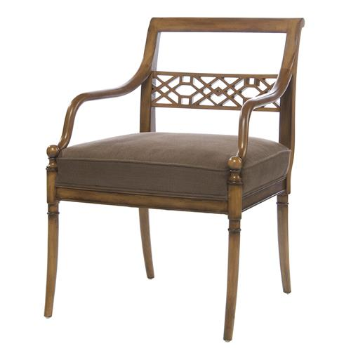 Hollywood Regency Golden Sable Fretwork Occasional Arm Chair | Kathy Kuo Home