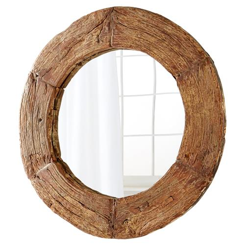 Ballinger Modern Classic Walnut Wood Round Mirror - 50D | Kathy Kuo Home