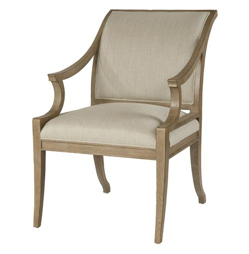 Isabelle Pavilion Regency Style Natural Linen Dining Arm Chair | Kathy Kuo Home