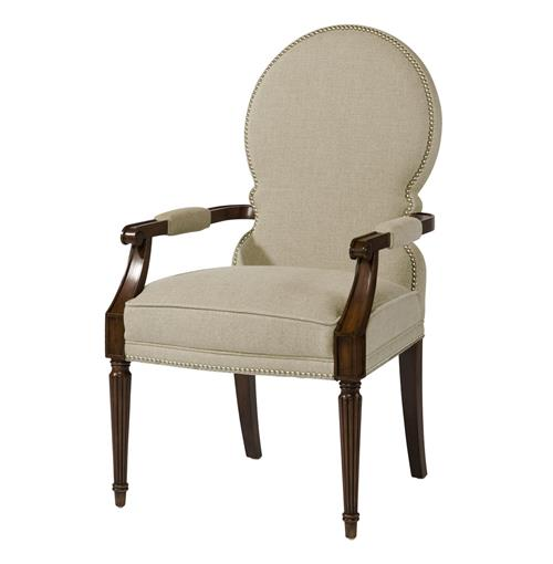 Sadie Venetian Rounded Back Natural Linen Dining Arm Chair | Kathy Kuo Home