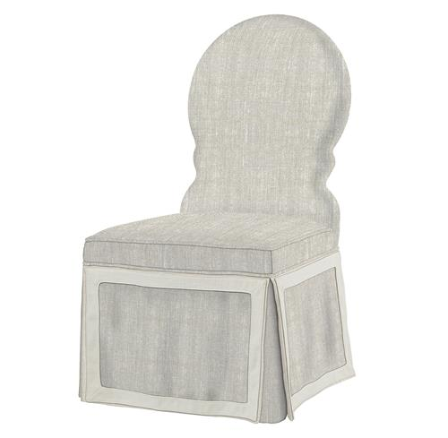 Sadie Venetian Fawn Cream Linen Dining Skirted Dining Chair | Kathy Kuo Home