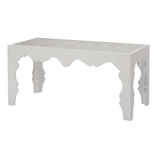 Gigi Hollywood Scalloped Antique Mirror White Coffee Table | Kathy Kuo Home