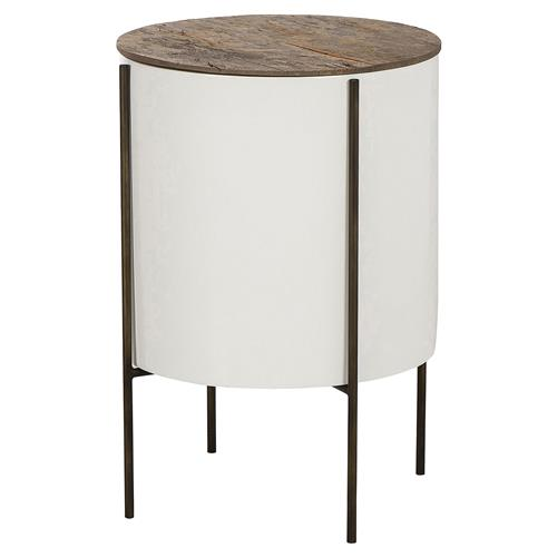 Thomas Bina Danica Modern Classic Wood Fiberglass Steel Tube Side End Table | Kathy Kuo Home