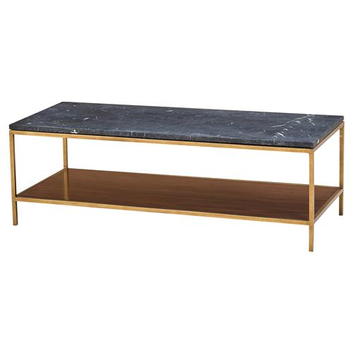 Maison 55 Copeland Mid Century Modern Black Marble Gold Coffee Table | Kathy Kuo Home