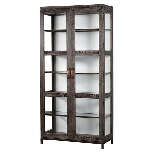 Maison 55 Emerson Modern Classic Wood Clear Glass 2 Door China Cabinet | Kathy Kuo Home