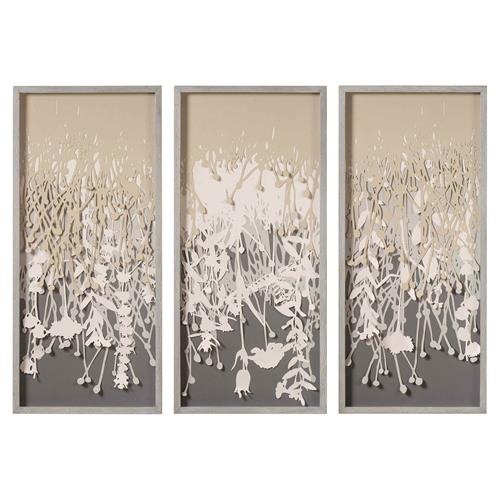 Coup & Co. Lisa Modern Classic Vines Grey Wood Frame Triptych Wall Art | Kathy Kuo Home