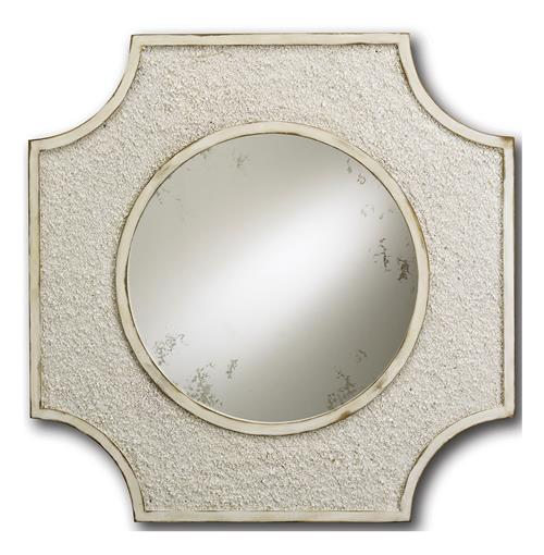 Crushed Shell Coastal Beach Antique White Elegant Mirror | Kathy Kuo Home