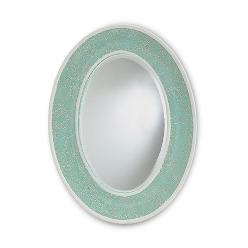 Light Turquoise Blue Coastal Beach Oval Decorative Mosaic Mirror | Kathy Kuo Home