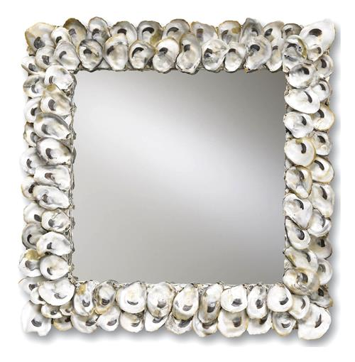 Oyster Shell Coastal Beach Large Square Mirror - 20 Inch | Kathy Kuo Home
