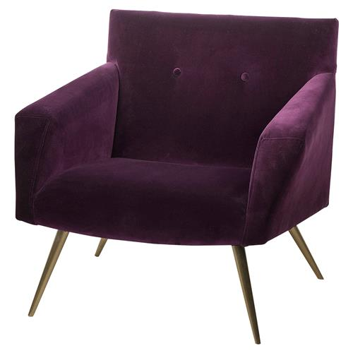 Resource Decor Kelly Modern Classic Purple Velvet Gold Metal Living Room Chair | Kathy Kuo Home