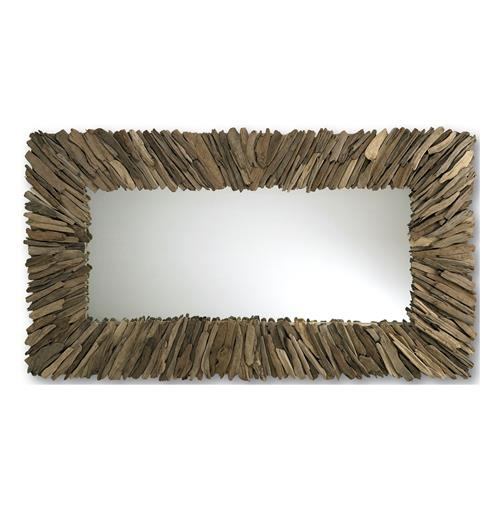 Bonita Modern Rustic Driftwood Long Rectangle Mirror 42 x 72 | Kathy Kuo Home