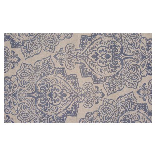 Resource Decor Meknes Global Bazaar Blue Beige Wool Patterned Rug - 5' x 8' | Kathy Kuo Home