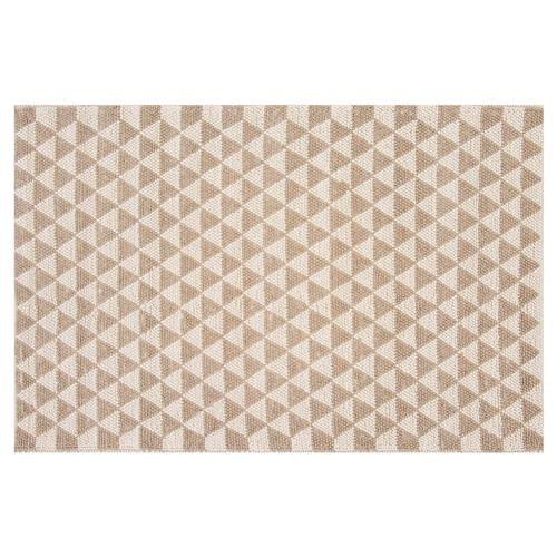 Resource Decor Mona Modern Classic Beige Wool Patterned Rug - 5' x 8' | Kathy Kuo Home