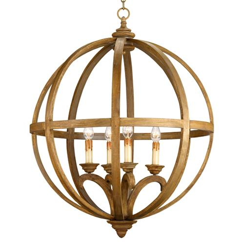 Drexel Orb Curved Wood Round Pendant Chandelier Lamp