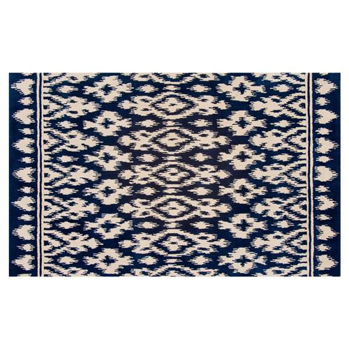 Resource Decor Safi Global Bazaar Blue Beige Wool Patterned Rug - 5' x 8' | Kathy Kuo Home