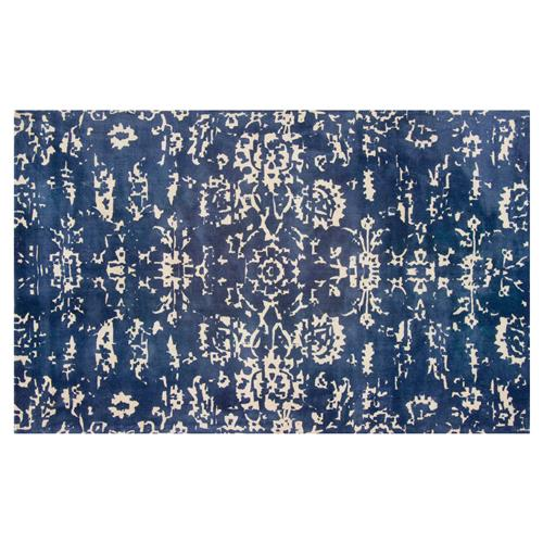 Resource Decor Senna Global Bazaar Blue Beige Wool Patterned Rug - 5' x 8' | Kathy Kuo Home