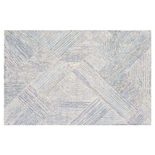 Resource Decor Vaughan Modern Classic Blue White Denim Rug - 5' x 8' | Kathy Kuo Home