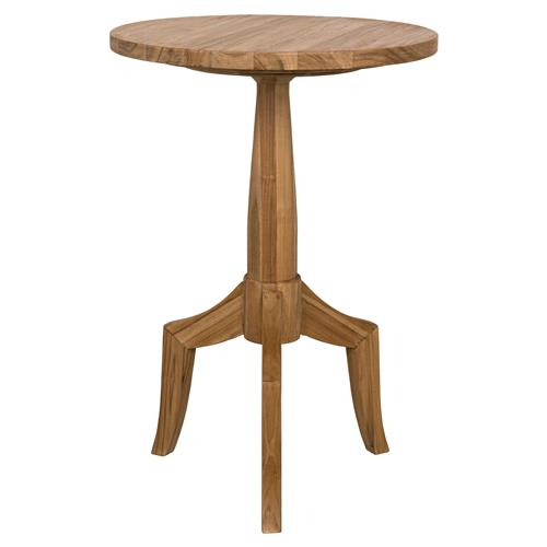 Noir Atomic Modern Classic Round Brown Teak Side End Table | Kathy Kuo Home