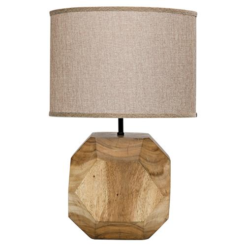 Declan Modern Classic Beige Brown Teak Table Lamp | Kathy Kuo Home