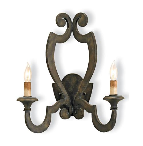 Renaud Rustic Wrought Iron Scroll 2 Light Wall Sconce | Kathy Kuo Home