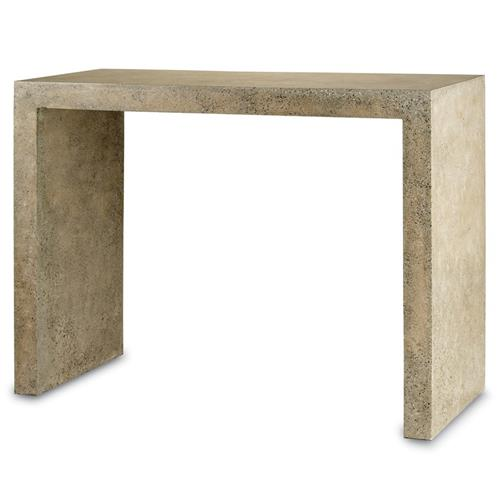 Vala Industrial Loft Speckled Concrete Outdoor Console Table | Kathy Kuo Home
