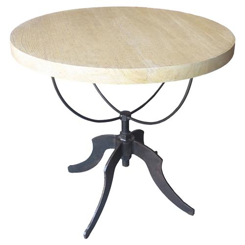 Noir Wine Industrial Loft Round Beige Elm Wood Grey Metal Side End Table | Kathy Kuo Home