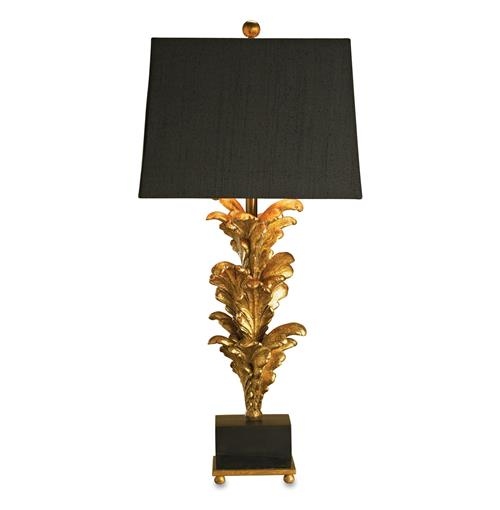 Renaissance Black Gold Leaf Acanthus Leaf Large Table Lamp- 40 Inch | Kathy Kuo Home