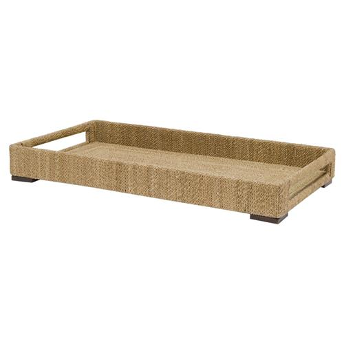 Palecek Modern Classic Woodside Small Hand-woven Rope Rectangular Tray With Handles | Kathy Kuo Home