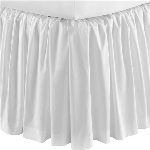 Peacock Alley Modern Soprano Cotton Sateen Ruffled Bed Skirt - White Twin | Kathy Kuo Home