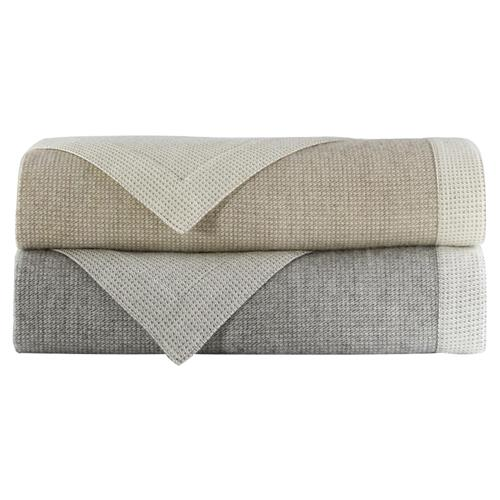 Peacock Alley Modern Angelo Reversible Blanket - Linen Queen | Kathy Kuo Home