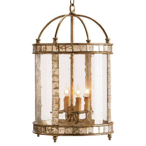 Lukina Global Bazaar Silver Mirrored Tile Round Lantern - 13D | Kathy Kuo Home