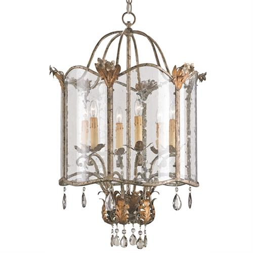 Spanish Revival Antique Gold Silver Lantern Pendant- Large | Kathy Kuo Home