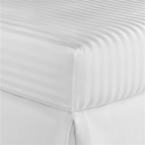Peacock Alley Modern Duet Cotton Sateen Fitted Sheet - White Twin | Kathy Kuo Home