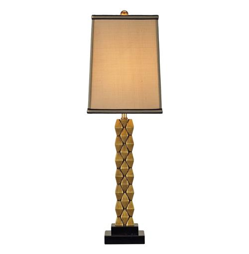 Debonair Tall Cast Brass Column Masculine Table Lamp - 30 Inch | Kathy Kuo Home