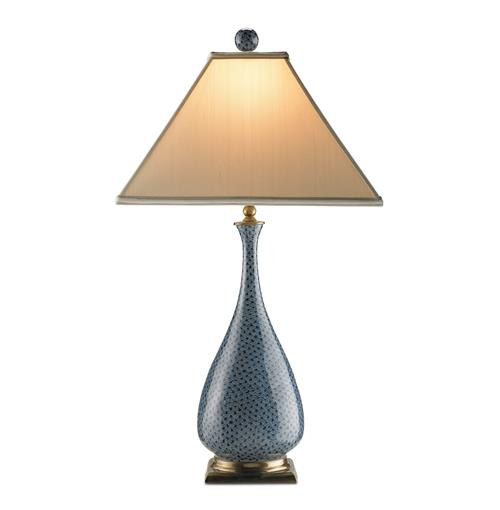 Courtship Blue Brass Vase Contemporary Table Lamp- 28 Inch | Kathy Kuo Home