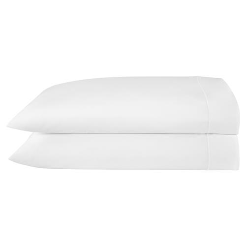 Peacock Alley Modern Soprano Cotton Sateen Pillow Case - White Standard | Kathy Kuo Home