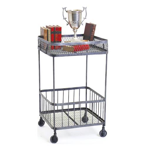 Cobble Hill Industrial Loft Cart Iron Mesh Side Table | Kathy Kuo Home
