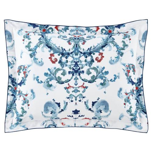 Peacock Alley FrenchCountry Alena Printed Sateen Sham - Aqua Standard | Kathy Kuo Home