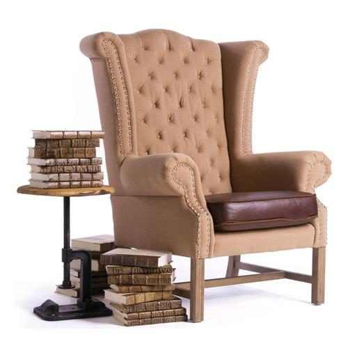 Buckingham Light Brown Man's Study Leather Wing Chair | Kathy Kuo Home