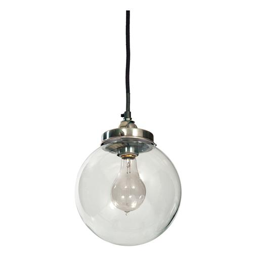 In Orbit Industrial Loft Steel Glass Pendant Globe Light | Kathy Kuo Home