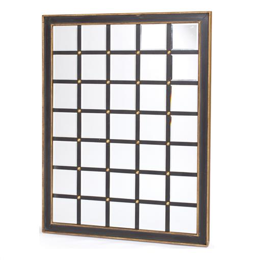 Large Black Gold Hand Painted Grid Wall Mirror | Kathy Kuo Home