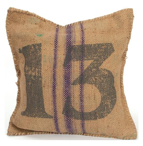 Vintage Burlap Sack Printed Toss Pillow- Number 13 | Kathy Kuo Home