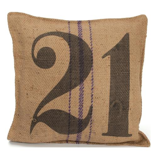 Vintage Burlap Sack Printed Toss Pillow- Number 21 | Kathy Kuo Home