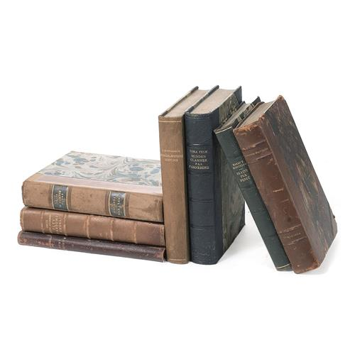 Set of 12 European Print Leather Antique Decorative Books | Kathy Kuo Home