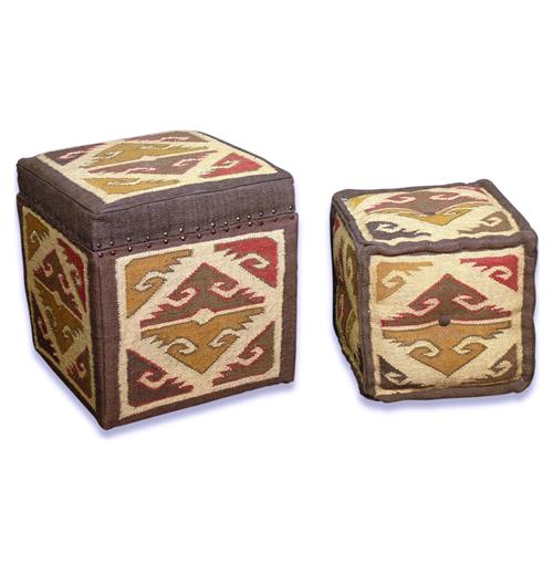 Hemlock Kilim Pattern Modern Rustic Olive Brown Valley Stool Ottomans | Kathy Kuo Home